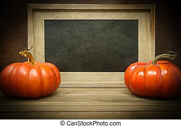 Pumpkins with Empty Chalk Board