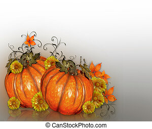 Pumpkins with Fall flowers - Image and Illustration...