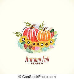 Pumpkins With Fall Leaves and Flowers Vector