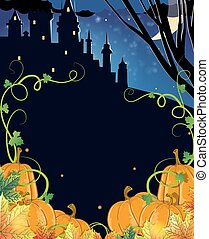 Pumpkins with leaves and old haunted castle