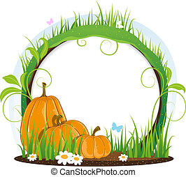 Pumpkins with leaves, flowers and butterflies