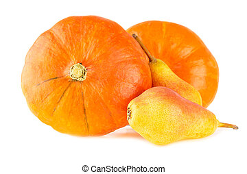 Pumpkins with pears. Fall bright color fruits and vegetables isolated on white