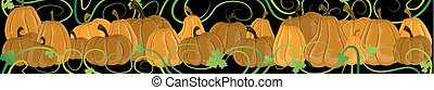Pumpkins with sprouts and leaves on a black