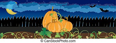 Pumpkins with sprouts and leaves - Three pumpkins with...