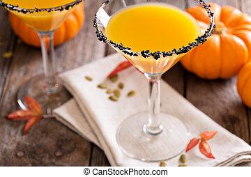 pumpkintini, coctail, martini, citrouille