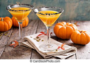 Pumpkintini pumpkin martini coctail with black salt rim for ...