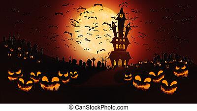 pumpor, fyllda, sky, kyrkogård, halloween, mot, flygning, måne, bakgrund, slagträ, herrgård, besatt