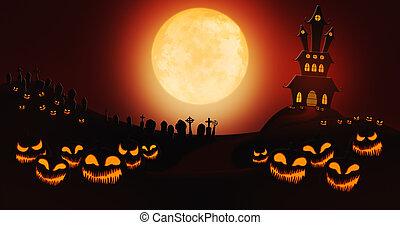 pumpor, fyllda, sky, kyrkogård, halloween, mot, måne, bakgrund, herrgård, besatt