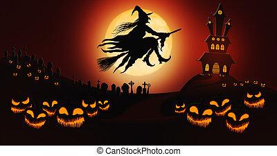 pumpor, ridande, fyllda, sky, kyrkogård, häxa, halloween, kvast, mot, måne, bakgrund, herrgård, besatt