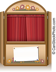 Punch and Judy Booth Brown Closed C - Wooden punch and judy...