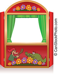 Punch and Judy, a traditional, popular puppet show. Red booth for the puppeteer.