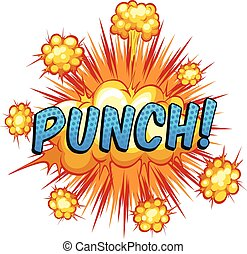 Word 'punch' with cloud explosion background