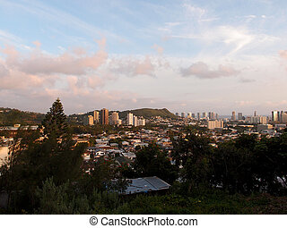 Punchbowl Crater and Honolulu Cityscape at Dusk