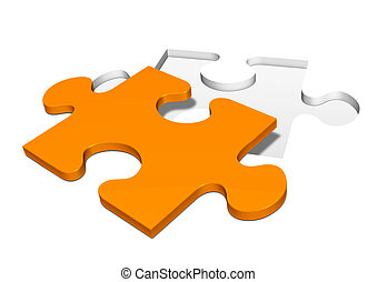Punched Out Single Orange Colored Jigsaw Piece - Punched Out...
