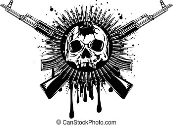punched skull with crossed machine gun - Abstract vector...
