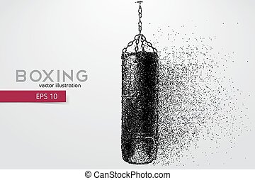 Punching bag from particles. Background and text on a...