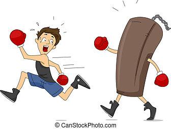 Punching Bag Revenge - Illustration of a Punching Bag...