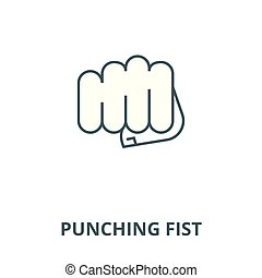 Punching fist vector line icon, linear concept, outline sign, symbol