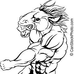 Punching horse mascot - A tough muscular horse character...