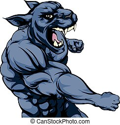 Punching panther mascot - A mean looking panther sports...