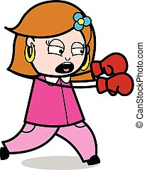 Punching - Retro Cartoon Female Housewife Mom Vector Illustration