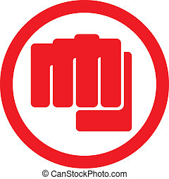 punching), símbolo, (human, puño, mano