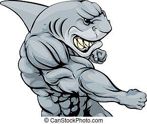 Punching shark mascot - A tough muscular shark character...