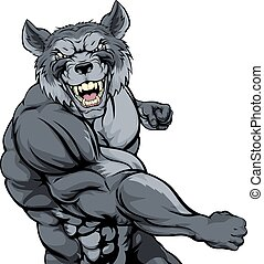 Punching wolf mascot - Tough mean muscular wolf character or...