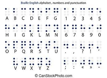 punctuation., letras, braille, alfabeto, vetorial, números,...