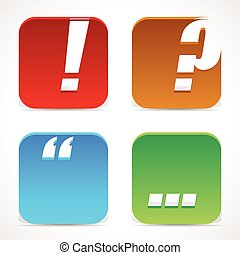 Punctuation mark icons. Exclamation point, question mark,...