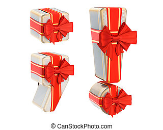 Punctuation marks from gift boxes with red ribbon bow, 3D rendering