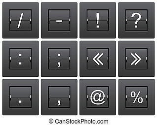 Punctuation marks from mechanical scoreboard