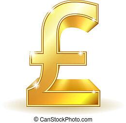 pund, currency., guld, underteckna