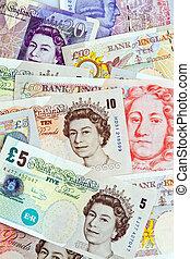 pund, noterar., pounds., currency., brittisk, sedlar