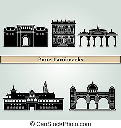 Pune landmarks and monuments isolated on blue background in...