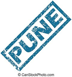 Pune rubber stamp - Blue rubber stamp with city name Pune,...