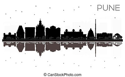 Pune skyline black and white silhouette with reflections....