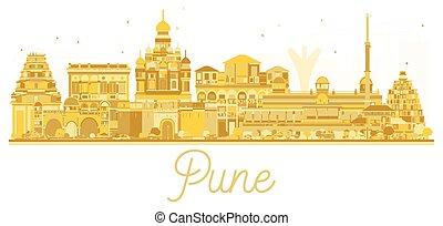 Pune skyline golden silhouette. Vector illustration....