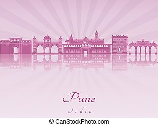 Pune skyline in purple radiant orchid in editable vector...