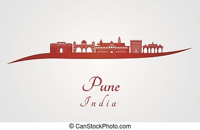 Pune skyline in red and gray background in editable vector...