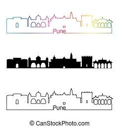 Pune skyline linear style with rainbow in editable vector...