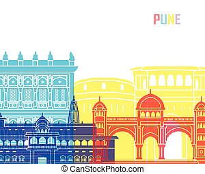 Pune skyline pop in editable vector file