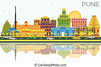 Pune Skyline with Color Buildings, Blue Sky and Reflections....