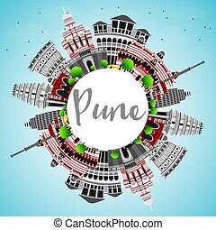 Pune Skyline with Color Buildings, Blue Sky and Copy Space.