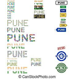 Pune text design set - writings, boards, stamps
