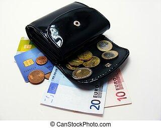 pung, hos, euro, penge, kredit cards