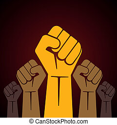 punho apertado, segurado, em, protesto