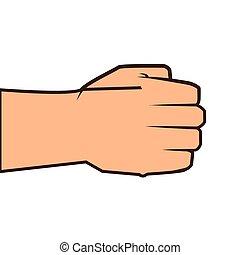 punho fechado, mão