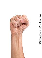 punho, machos, isolado, clenched, mão