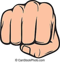 punho, perfurando, (human, mão, punching)